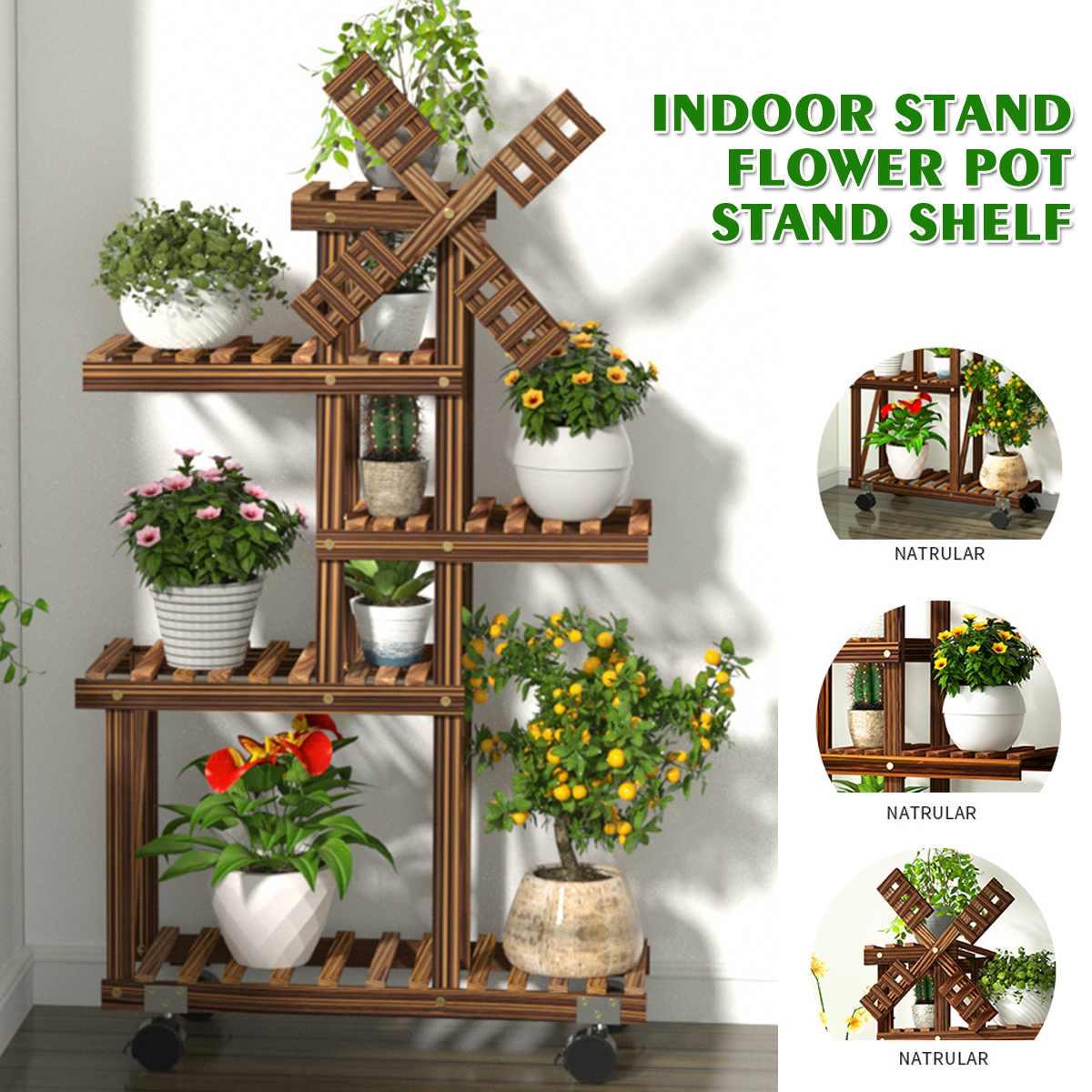 Estante de madera para flores estante para plantas estante para exhibición de bonsái jardín interior exterior Patio balcón soportes de flores estanterías para plantas
