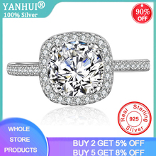 YANHUI Real Original 925 Solid Silver Rings for Women Luxury 1.5 Carat Zirconia Diamond Rings Fine Silver 925  Jewelry JZ063 yanhui silver 925 jewelry eternity 1 carat lab diamond wedding rings luxury original 925 silver rings gift for women jz068