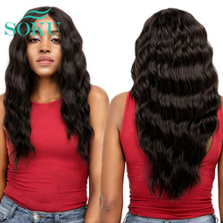 SOKU Black Blonde Red Synthetic Lace Front Wigs Long Soft Natural Wave Trendy 20 Inch Middle Part Glueless For Black Women