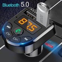 Bluetooth 5.0 transmissor fm carro kit mp3 modulador jogador sem fio receptor de áudio handsfree duplo usb carregador rápido 3.1a