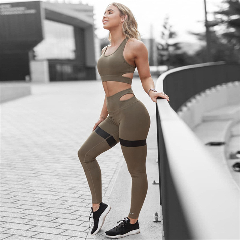 Newest Wear Suit Seamless Solid Patchwork 2 Pieces Sets Workout Clothes For Women High Waist Leggings+Bra Women Tracksuit
