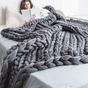 Image 1 - 200*200cm szybki transport moda masywny koc z dzianiny gruba przędza wielkogabarytowe Knitting rzuć koce Sofa rzuć
