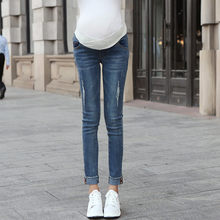 2019 fashion low waist pregnant women jeans stretch feet stomach lift spring and autumn wear holes nine points pants брюки 40*(China)