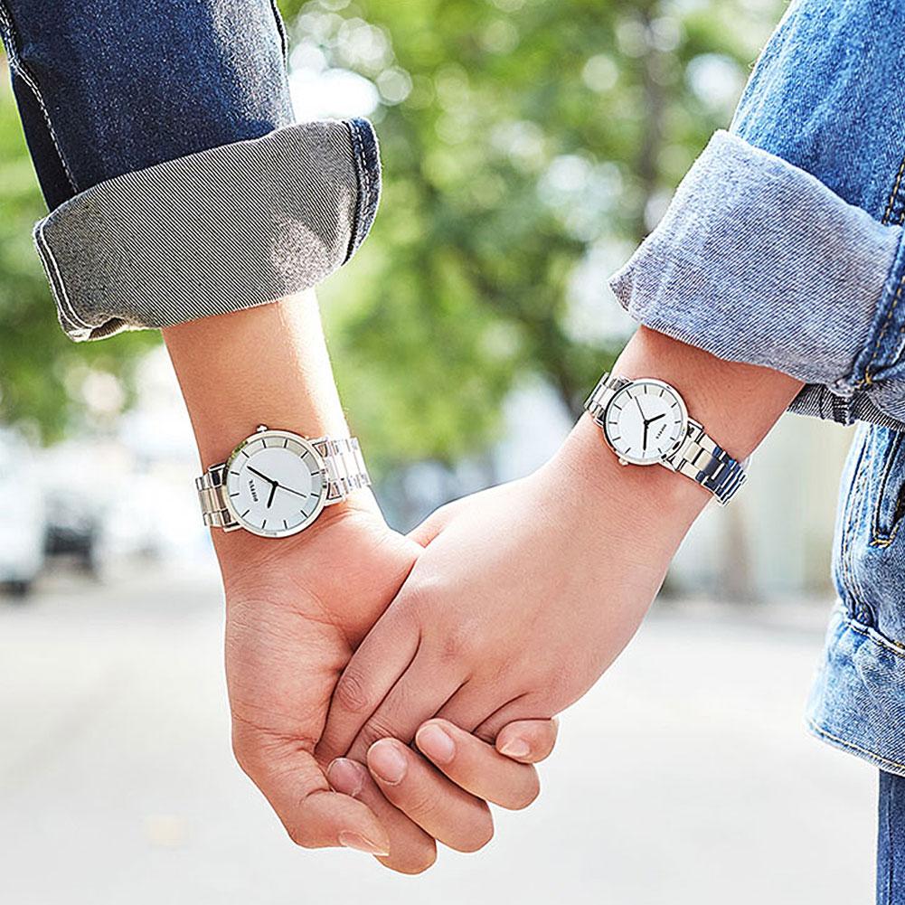Vintage Couple Watch Stainless Steel Band Round Dial Analog Fashion Quartz Wrist Watch Gift Lovers Couple Zegarek Damski Fas