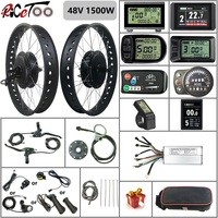 RICETOO Electric Bicycle 48V1500W BLDC Fat Tire Snow Ebike Conversion Kit with Rear Cassette Hub Motor Wheel with KT Display
