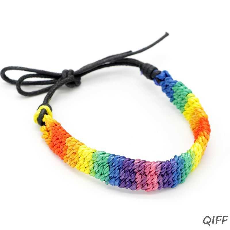Buatan Tangan Terbuat dari Anyaman Rainbow Stripe Abu-abu Kebanggaan Gelang Adjustable Lesbian Lesbian Persahabatan Gelang Pesta Parade Aksesori