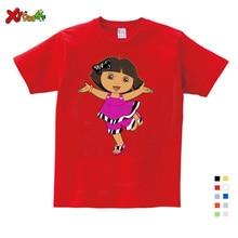 цена на 2019 Children T Shirt 6 Years Dora Girls Sweet Lovely Style T Shirt Infant/baby Cute Cartoon Tees Dora Explorer Girl Summer Tops
