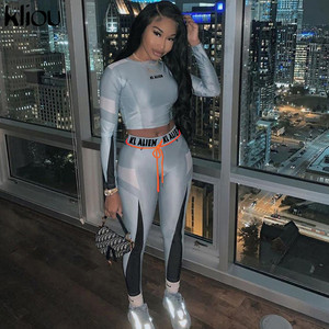 kliou High elastic letter print Fitness tracksuit woman 2 piece set skinny Long sleeves crop Top slim Leggings Sportswear Suit(China)