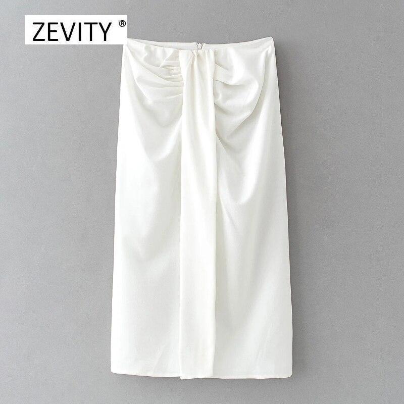 Модная женская юбка Zevity черного и белого цветов с разрезом, Повседневная облегающая трапециевидная юбка, женские юбки, шикарные юбки с молн...