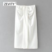 Zevity – jupe trapèze fendue nouée pour femmes, mode, noir, blanc, slim, chic, fermeture éclair au dos, QUN687