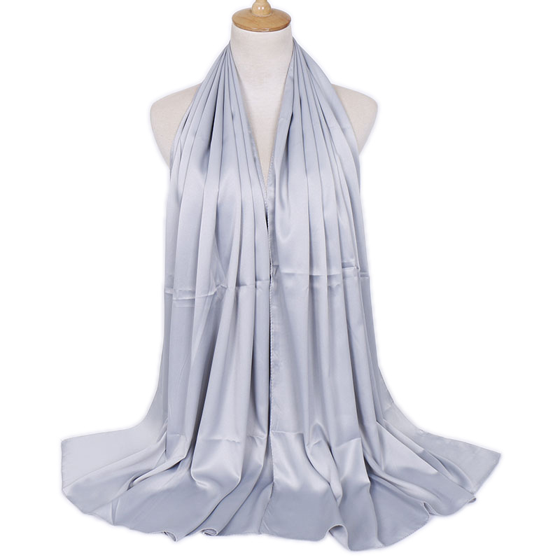 Hot Sale Solid Color Ethnic Hijab Scarf For Women Long Faux Silk Women Poncho Shawl Black Scarvess For Ladies Gray Head Scarfs