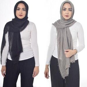 Image 1 - Wholesale price New Fashion Muslim crinkle hijab scarf femme musulman soft cotton headscarf islamic hijabs shawls and wraps