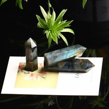 1PC Natural Crystal Labradorite Crystal Point Quartz Mineral Jewelry Magic Repair Modern Home Decoration Couple Decoration Gift(China)