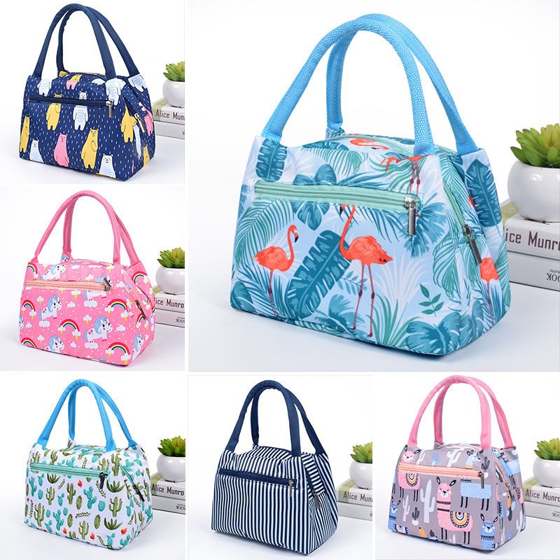 Cute Flamingo Portable Zipper Waterproof Lunch Bags Women Student Lunch Box Thermo Bag Office School Picnic Cooler Bags Bolsos