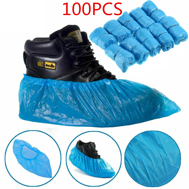 100PCS In Stock Disposable Shoe Covers High Quality Protection Waterproof Rain Shoe Overshoes Safety House Plastic Boot Covers