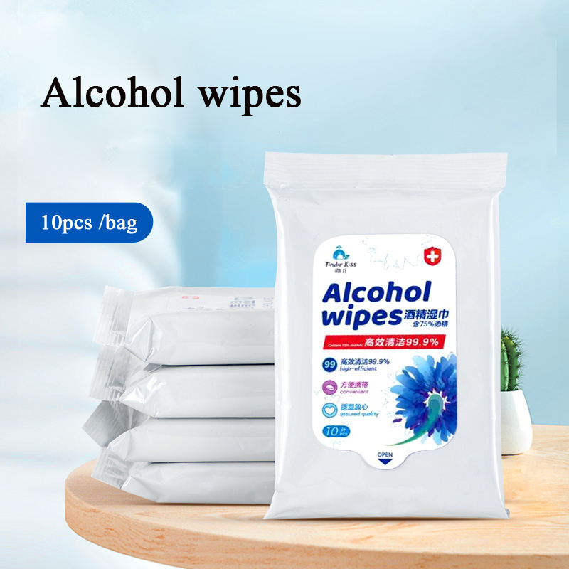 10pcs Disinfectant Wet Wipes Non-woven Portable 75% Alcohol Wipes Disposable Cleaning Care Sterilization Antibaterial Wipes