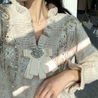XUXI Women 2020 New Zircon Sweater Spring Autumn Loose Outer Wear Retro Sweaters Femme Pullover Streetwear FZ0371