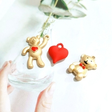 2019 New Cartoon Bears and Love  Alloy K Gold Earrings Pendant Diy Accessories earring finding 4 pieces / lot