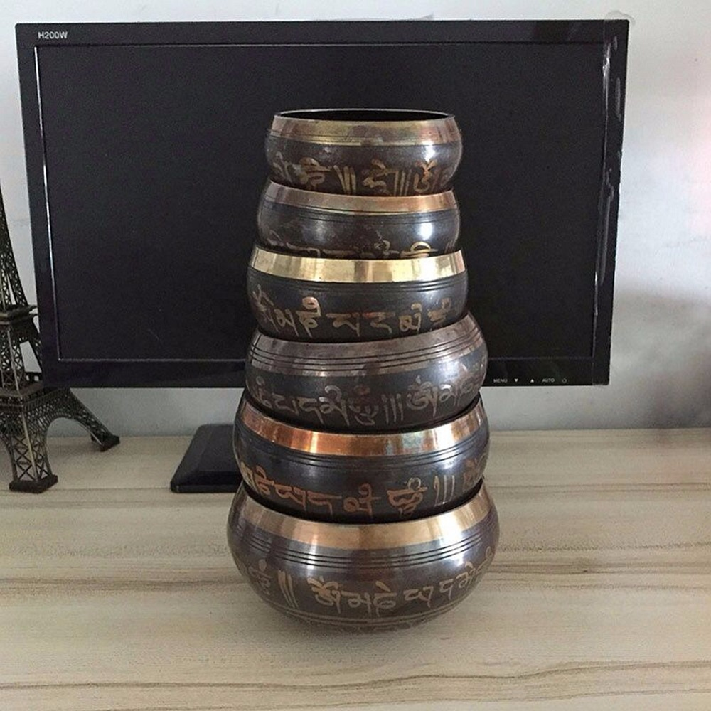 Copper Yoga Tibetan Singing Bowl Set Hand Hammered For Meditation Prayer Chakra Himalayan Crystal Home Decoration Decorative