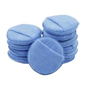 10 sztuk z mikrofibry wosk aplikator gąbka Pad 5 cal z palcem kieszeni do woskowania polerowanie samochodów farby pielęgnacja Buff klocki tanie i dobre opinie XOPIP circular Blue For car paint waxing and polishing
