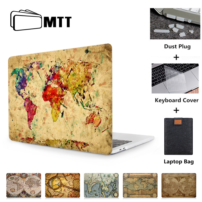 MTT Retro World Map Laptop Case For Macbook Air Pro Retina 11 12 13 15 With Touch Bar Cover Laptop Protector Shell Funda A1706