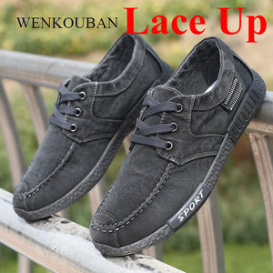 Image 4 - אופנה גברים נעלי בד זכר החורף מזדמנים ג ינס נעלי Mens סניקרס להחליק על נעלי נהיגה מוקסין Chaussure Homme שחור