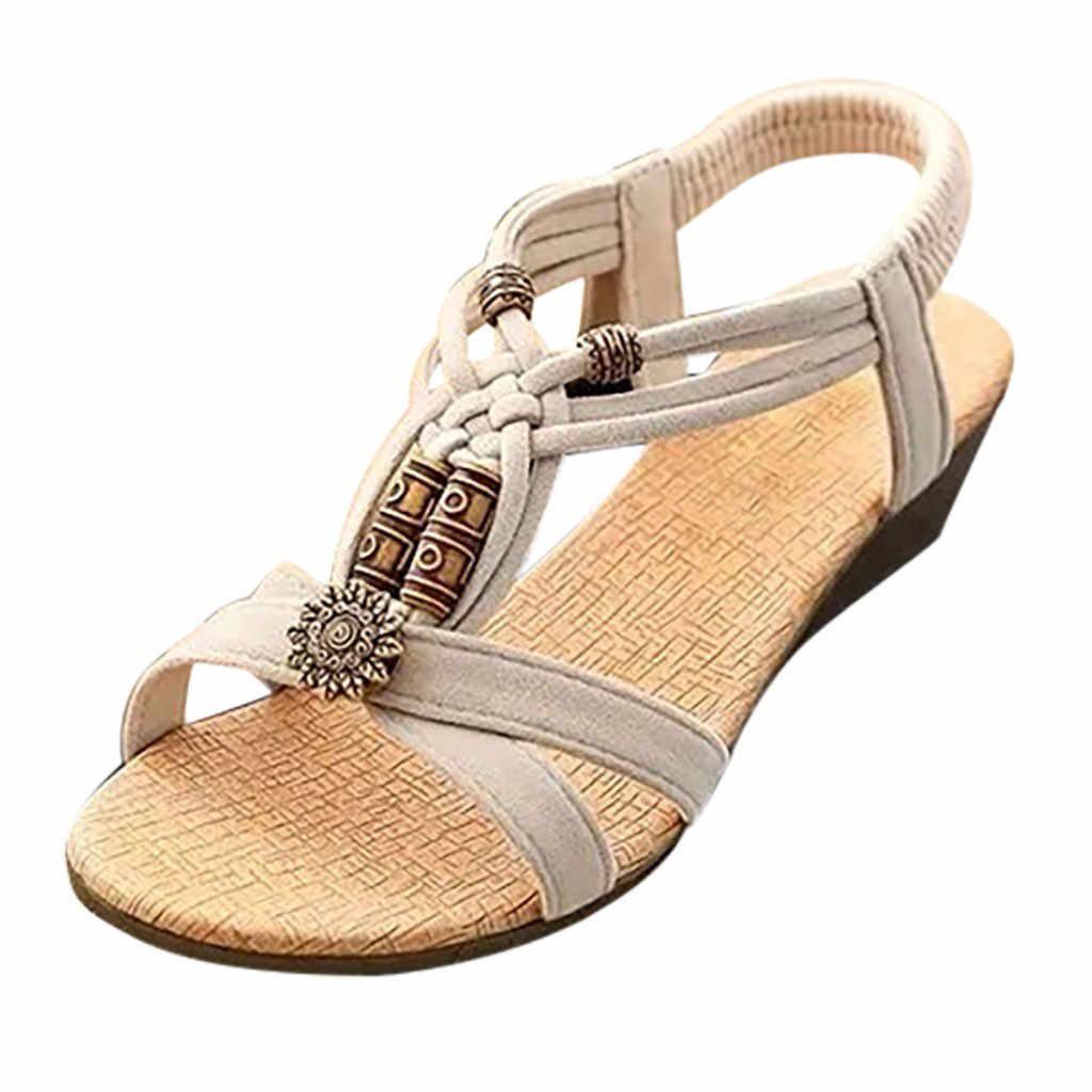 Sagace Musim Panas Sepatu Fashion Sandal Wanita Elastis Band Beach Flat dengan Lace-Up Sandal Roma Wanita Bulat Toe Sepatu
