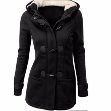 Trench Coat for Women Spring Autumn Overcoat Female Long Hooded Horn Button Outw