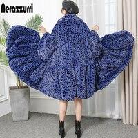 Nerazzurri Winter leopard faux fur coat women loose oversized skirted furry fluffy jacket long leopard print runway streetwear