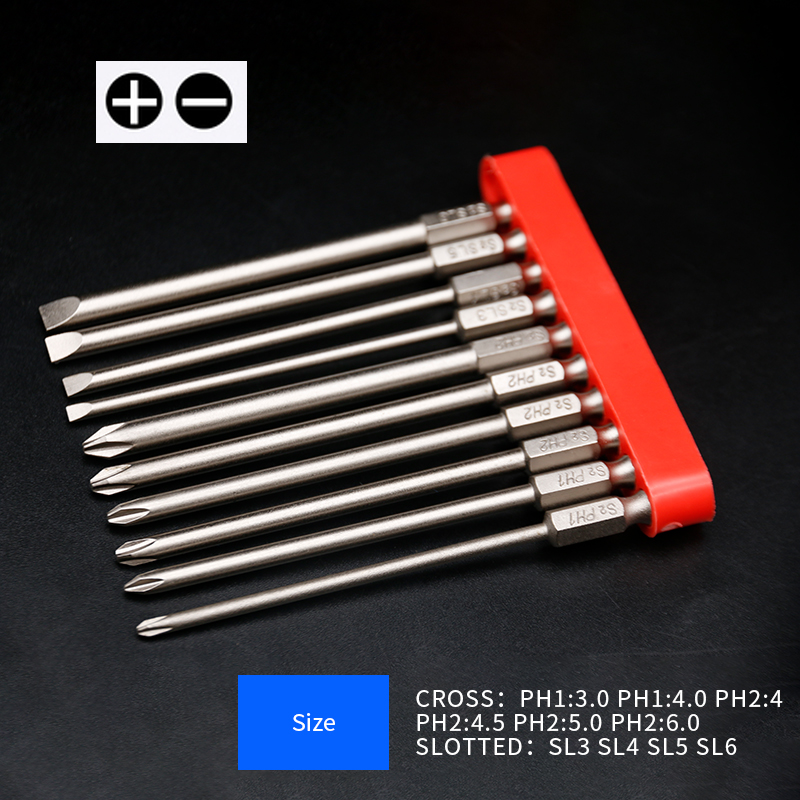 10pcs/set 100mm Alloy Steel S2 Slotted Phillips Screwdriver Bits Straight Cross Head Batches Screwdriver Set