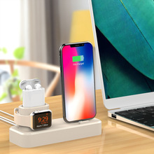 Besegad 3 in 1 Silicone Gel Charging Holder Dock Station Charger Stand cargador for Apple Watch iWatch AirPods iPhone X Xs Max