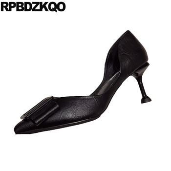 black closed toe high heels cute bow japanese female beige pointed women 2019 pumps scarpin shoes size 4 34 kawaii stiletto