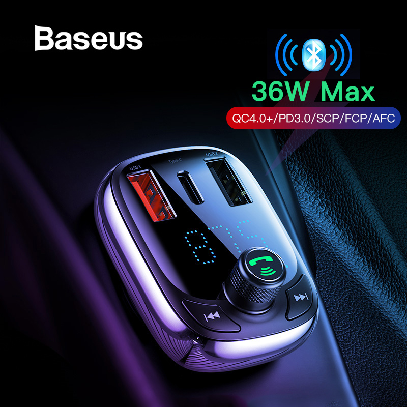 Baseus 빠른 충전 4.0 자동차 충전기 전화 FM 송신기 블루투스 차량용 키트 오디오 MP3 플레이어 빠른 듀얼 USB 차량용 충전기