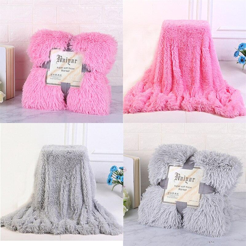2019 Super Soft Fuzzy Fur Faux Elegant Cozy With Fluffy  Throw Blanket Bed Sofa Bedspread Long Shaggy Soft Warm Bedding Sheet