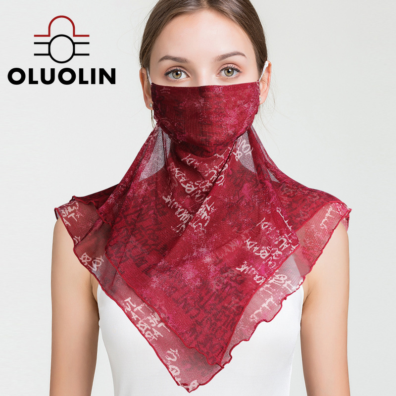 Women Flowers Sunscreen Masks Face Shield Female Breathable Thin Sunshade Large Head-Mounted Mask 100% Silk Neck Scarf Small