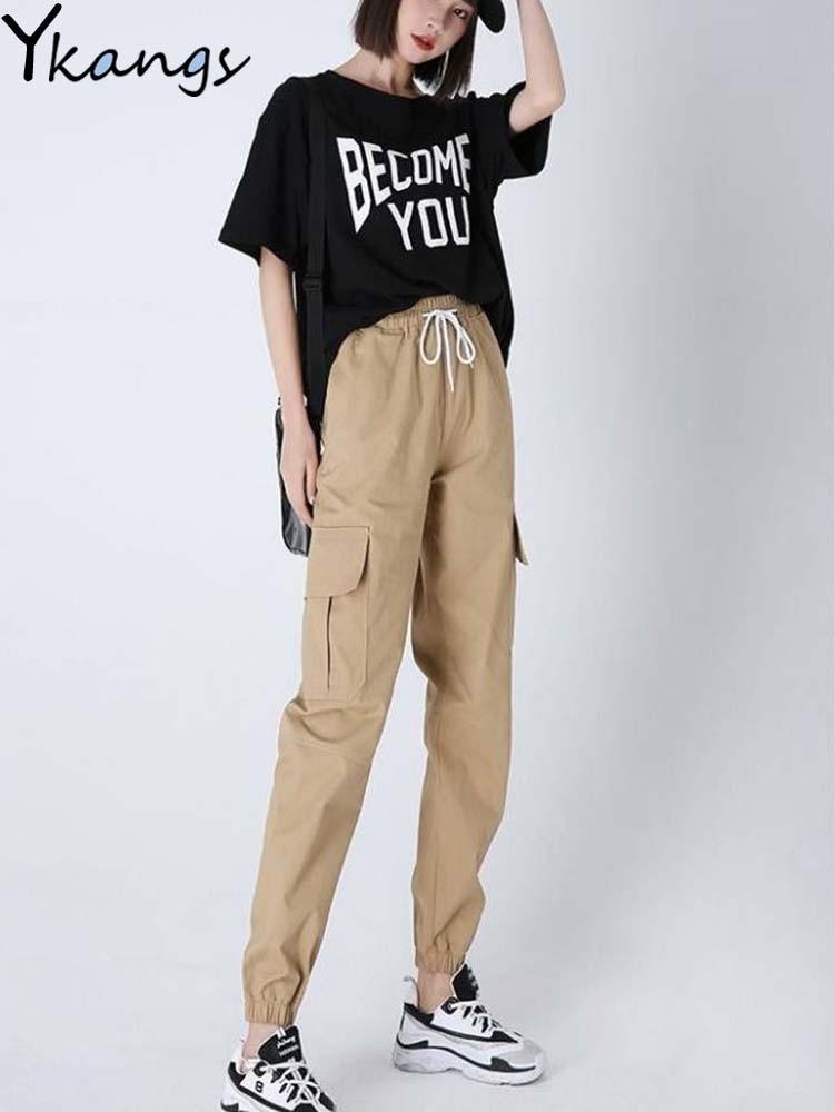 Loose Korean Fashion Trousers Hip Hop Students Pants For Women Pocket Harajuku Cargo Pants Solid Pocket Baggy Pant Joggers Women
