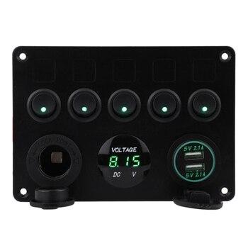 5 комплектов ВКЛ-ВЫКЛ тумблер панель управления двойной Usb разъем зарядное устройство цифровой вольтметр для автомобиля морской Rv грузовик