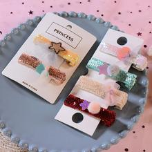 2 Pcs / Set Cartton Sequins Baby Hair Clips Cloth Craft Lace Bow  2.4 Inch Hairpins For Girls Pompon Ball Accessories New