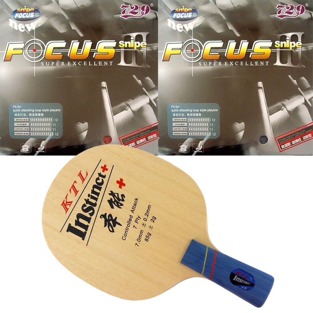 Pro Combo Racket  KTL Instinct+ Penhold Short CS Table Tennis Blade With 2 Pieces 729 FOCUS III Rubber Sponge
