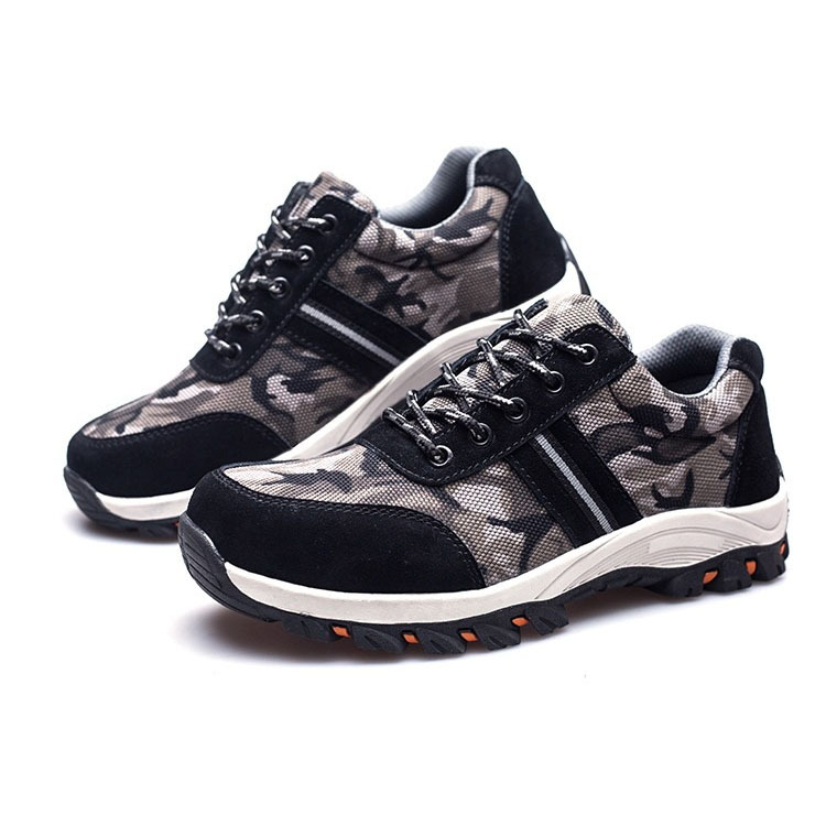 Camouflage Canvas Safety Shoes Breathable Cloth Steel Head Protective Shoes Stab Smashing Safety Shoes Currently Available Direc