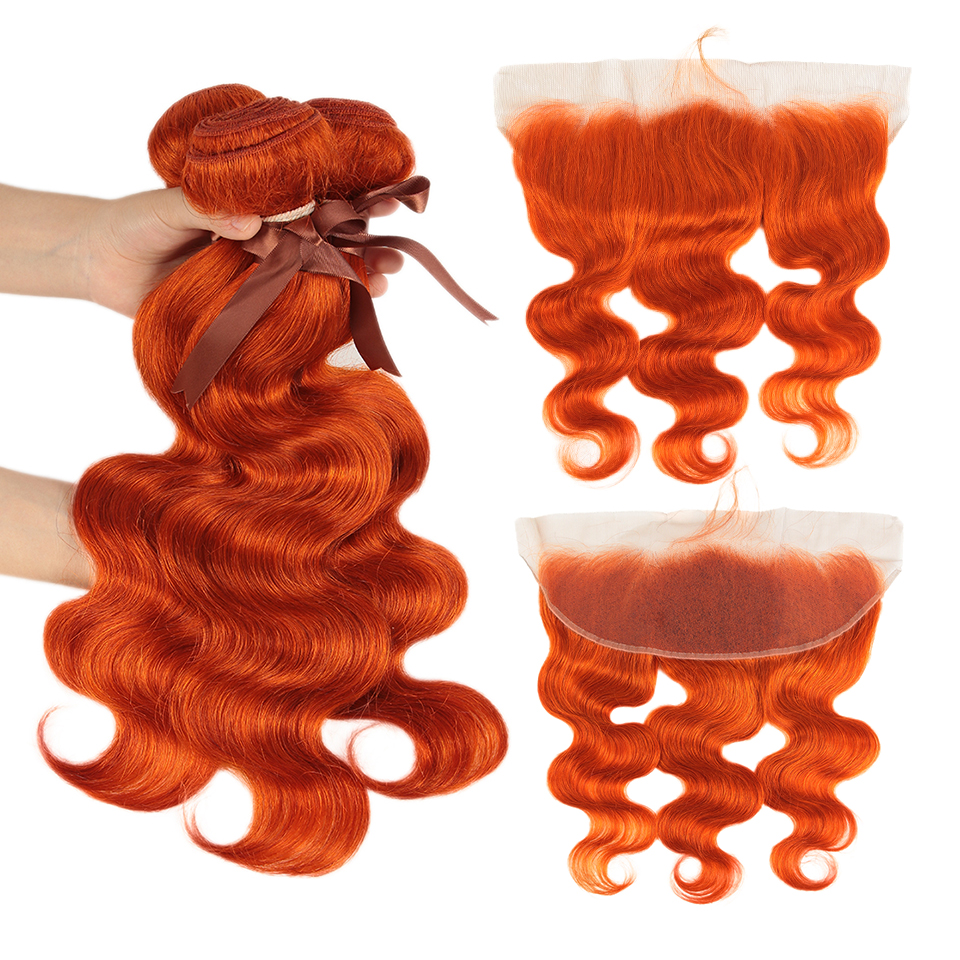 Remy Forte Body Wave Hair Bundles With Closure Colored Orange Bundles With Frontal Remy Brazilian Hair Weave Bundles 3/4 Bundles