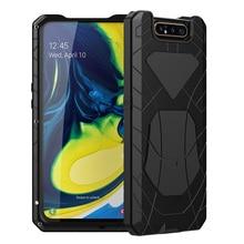 עבור סמסונג גלקסי A80 טלפון מקרה קשה אלומיניום מתכת מזג זכוכית מסך מתנת מגן כיסוי כבד החובה הגנת כיסוי