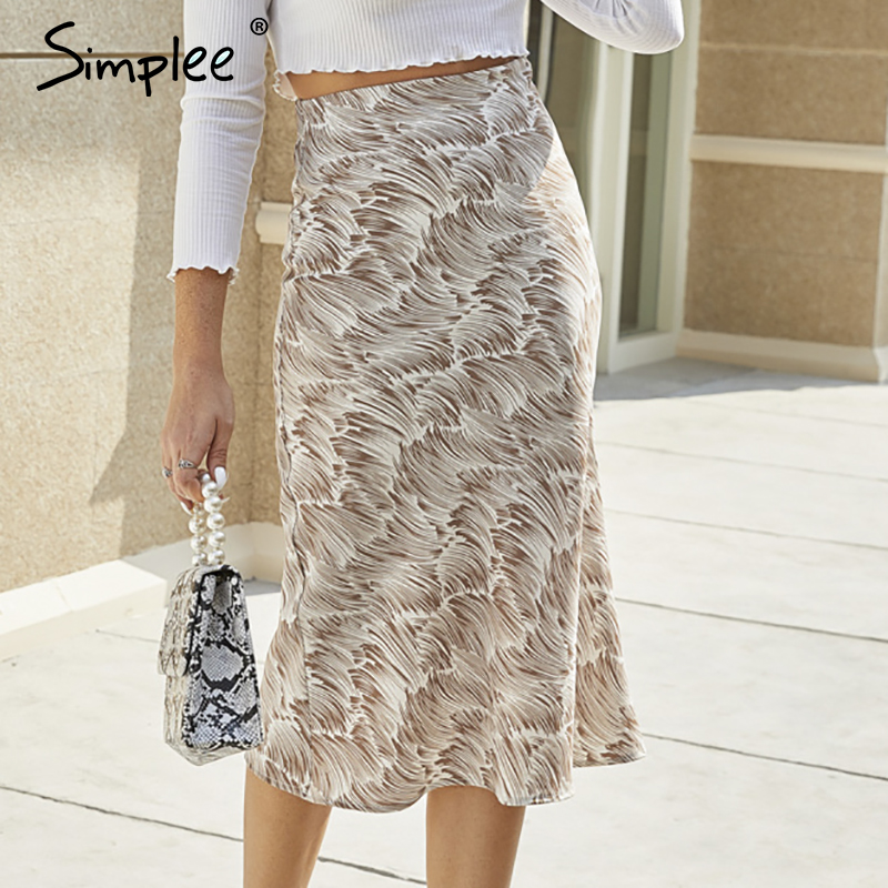 Simplee Elegant Printed Women Midi Skirt Casual High Waist Female Straight Skirts Spring Summer Striped Holiday Ladies Bottoms