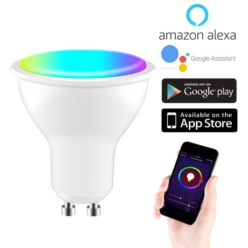 Светодиодная лампа Tuya Smart Life, WiFi, Gu10, с регулируемой яркостью, RGB, 2700K-6500K, 4 Вт, поддержка Amazon Alexa Echo и Google voice control
