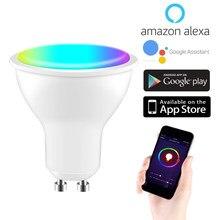 Tuya vida inteligente wifi gu10 regulável rgb de cinco vias 2700k-6500k) 4wled lâmpada suporta amazon alexa eco e google controle de voz