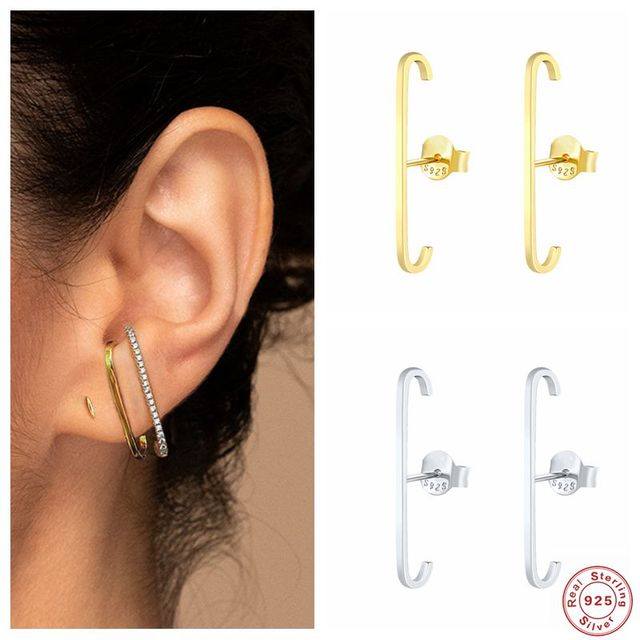 unique Sterling Silver Single Row Crystal Gold or Silver Earrings 4