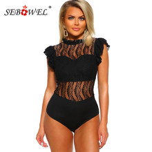 SEBOWEL Sexy Schwarz Spitze Frauen Body 2019 Chic Damen Ärmelloses Turtleneck Bodys Weibliche Club Kleidung Sheer Overalls Tops(China)