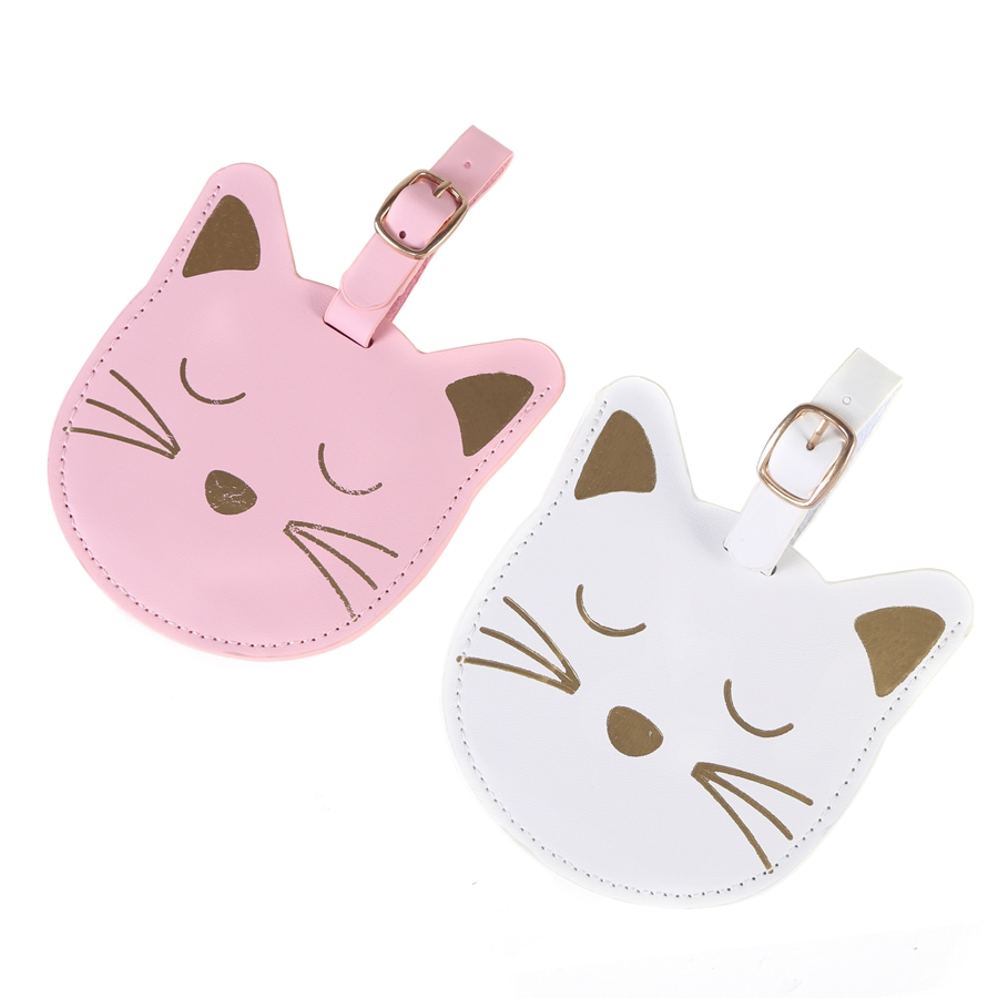 Lovely Animal Suitcase Leather Cat LuggageTag Bag Pendant Travel Accessories Name ID Address VIP Invitation Label LT29A