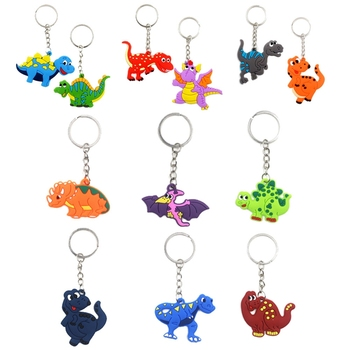 12Pcs/ Set Baby Dinosaur Keychain Kids Soft PVC Keyring Charm  Key Chain Car Bag Pendant Plastic Cartoon Dinosaur Keychains