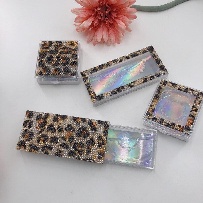 Impressão de leopardo caixas de diamante caso